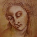 renaissance head. Pastel and pigment on plywood